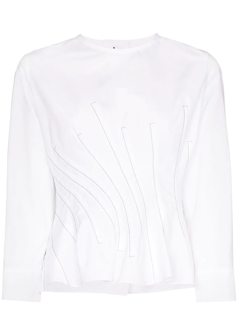 Marni twisted waist button back top