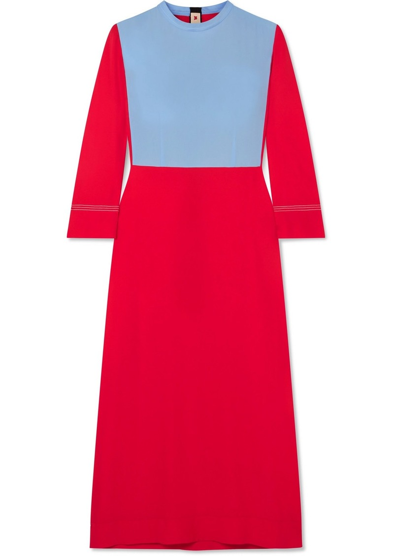 Marni Two-tone Crepe Midi Dress