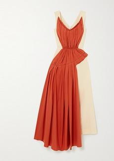 Marni Two-tone Pleated Cotton-poplin And Ramie-blend Midi Dress