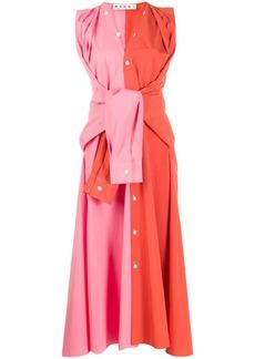Marni two-tone tied sleeves dress