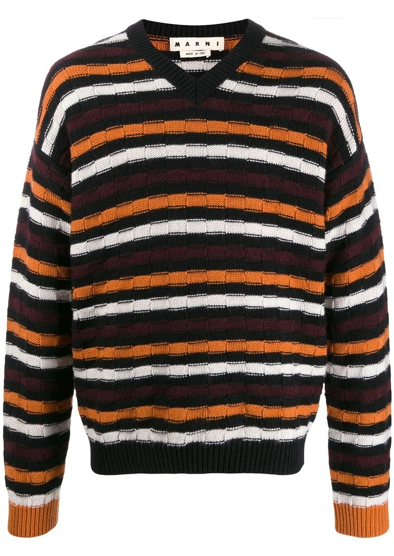 Marni V-neck striped jumper