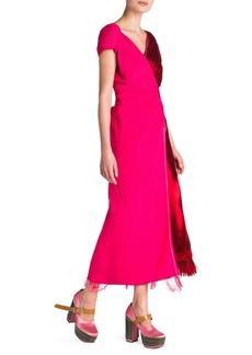 Marni Velvet Satin Bicolor Faux Wrap Dress