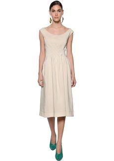 Marni Viscose Woven Midi Dress W/buttoned Back