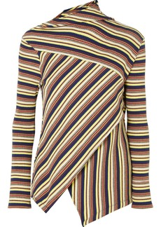 Marques' Almeida 7 For All Mankind Asymmetric Striped Ribbed Cotton-jersey Top