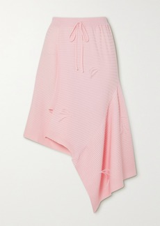 Marques' Almeida Asymmetric Feather-embellished Ribbed-knit Skirt