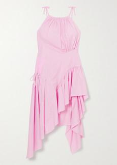 Marques' Almeida Asymmetric Frayed Ruffled Organic Cotton-poplin Dress