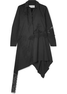Marques' Almeida Asymmetric Lace-paneled Cotton-poplin Mini Dress