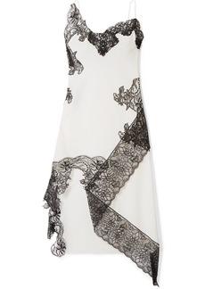 Marques' Almeida Asymmetric Lace-trimmed Cotton-poplin Midi Dress