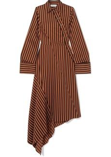 Marques' Almeida Asymmetric Paneled Striped Cotton Dress