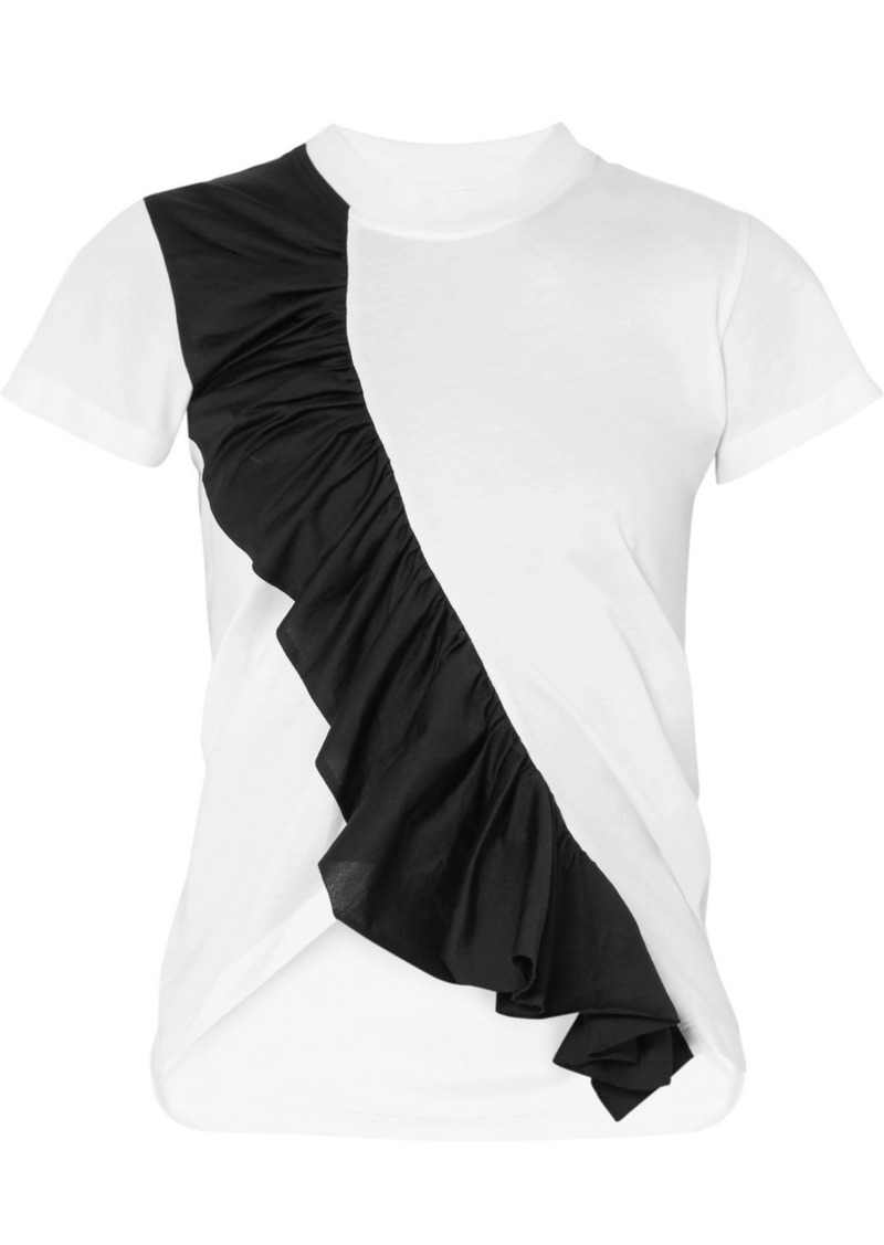 Marques' Almeida Asymmetric Ruffled Two-tone Cotton-jersey T-shirt