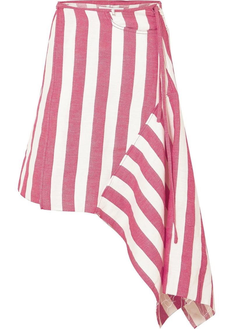 Marques' Almeida Asymmetric Striped Linen-blend Wrap Skirt
