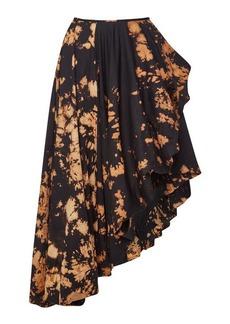 Marques' Almeida Asymmetric Tie-Dyed Cotton Wrap Midi Skirt