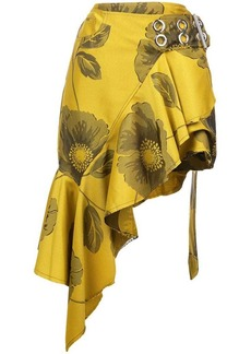 Marques' Almeida belted floral ruffle skirt