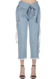 Marques' Almeida Belted Washed Denim Jeans