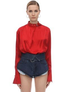 Marques' Almeida Buckle Collar Silk Satin Blouse