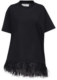 Marques' Almeida Cotton Jersey T-shirt Dress W/feathers