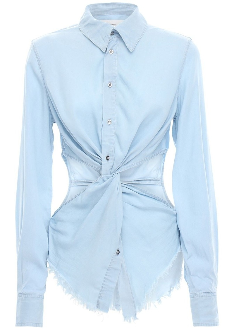 Cutout Denim Shirt W / Knot Detail