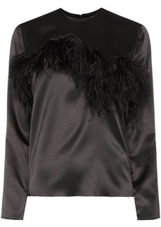 Marques' Almeida feather-trimmed satin blouse