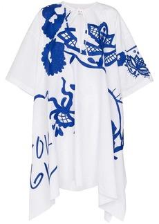 Marques' Almeida floral embroidered asymmetric cotton kaftan dress