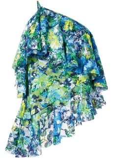 Marques' Almeida floral print lace one-shoulder top