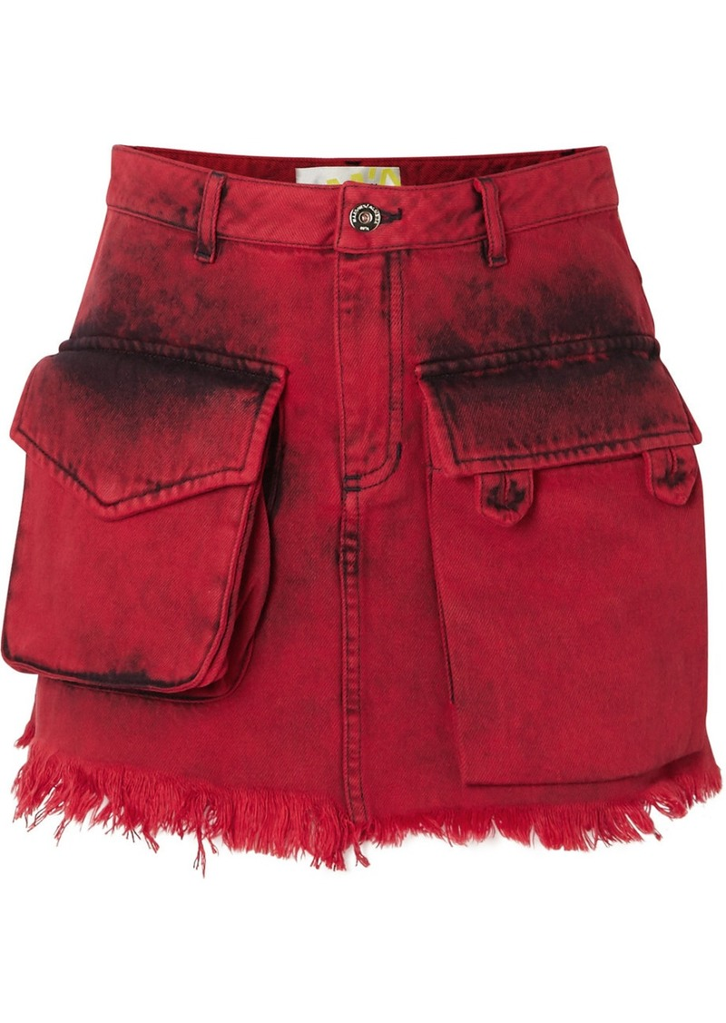 Marques' Almeida Frayed Acid-wash Denim Mini Skirt