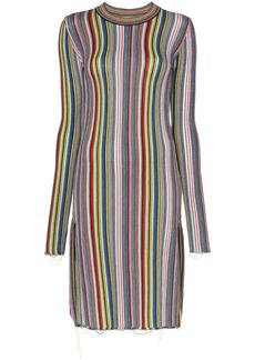 Marques' Almeida long sleeve striped wool dress