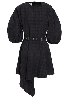 Marques' Almeida Woman Asymmetric Belted Seersucker Mini Dress Black