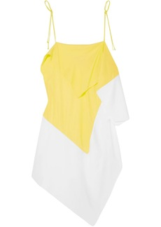 Marques' Almeida Woman Asymmetric Draped Two-tone Crepe De Chine Camisole Yellow