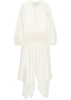 Marques' Almeida Woman Asymmetric Embroidered Tulle-paneled Silk-charmeuse Maxi Dress Off-white