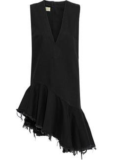 Marques' Almeida Woman Asymmetric Frayed Ruffled Denim Dress Black