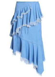 Marques' Almeida Woman Asymmetric Frayed Ruffled Denim Skirt Light Denim