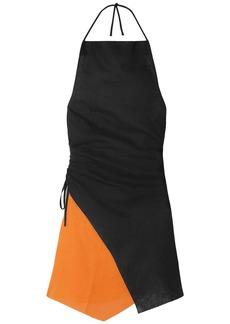 Marques' Almeida Woman Asymmetric Two-tone Linen Halterneck Mini Dress Black