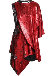 Marques' Almeida Woman Draped Sequined Woven Mini Dress Red