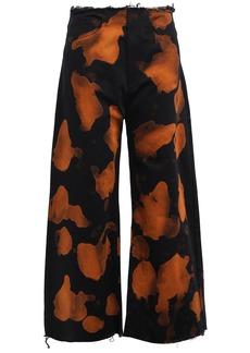 Marques' Almeida Woman Frayed Printed High-rise Wide-leg Jeans Black
