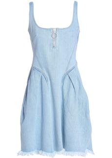 Marques' Almeida Woman Frayed Shirred Denim Mini Dress Light Denim