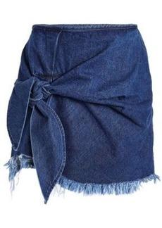 Marques' Almeida Woman Knotted Frayed Denim Mini Skirt Mid Denim