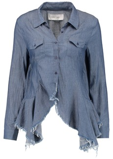 Marques' Almeida Woman Open-back Ruffled Cotton-chambray Shirt Mid Denim