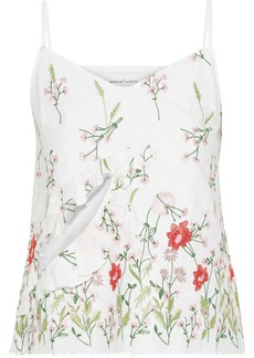 Marques' Almeida Woman Ruffle-trimmed Cutout Embroidered Cotton-blend Camisole White