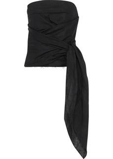 Marques' Almeida Woman Strapless Gathered Knotted Linen Top Black
