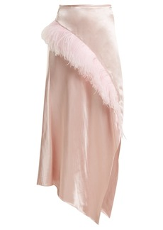 Marques' Almeida Marques'Almeida Asymmetric-hem feather-embellished satin skirt