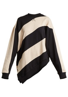 Marques' Almeida Marques'Almeida Asymmetric-hem striped cotton sweatshirt