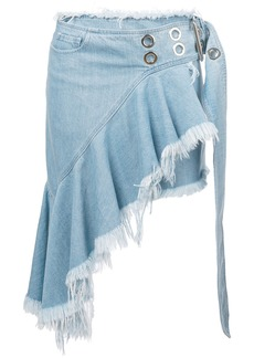 Marques' Almeida asymmetric raw hem denim mini skirt