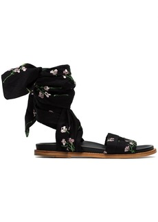 Marques' Almeida Black floral embroidered wrap sandals