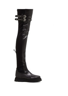 Marques' Almeida Marques'Almeida Buckled trek-sole leather thigh-high boots