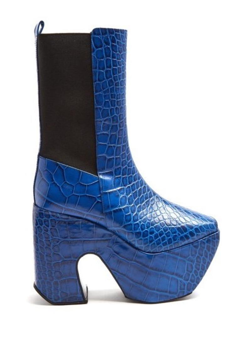 Marques' Almeida Marques'Almeida Crocodile-effect leather platform boots