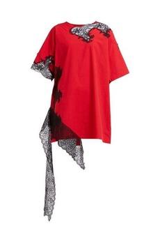 Marques' Almeida Marques'Almeida Lace-insert cotton-poplin T-shirt dress