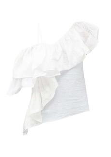 Marques' Almeida Marques'Almeida One-shoulder ruffled upcycled-seersucker top