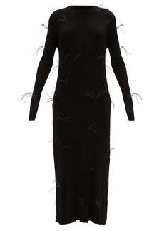 Marques' Almeida Marques'Almeida Ostrich-feathered ribbed maxi dress