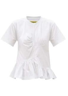 Marques' Almeida Marques'Almeida Peplum-hem ruched recycled-cotton blend T-shirt