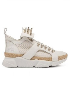 Marques' Almeida Marques'Almeida Spike-studded leather & raffia high-top trainers